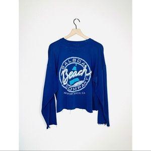 Vtg 80s 90s Balboa Beach Company Crop Sweatshirt